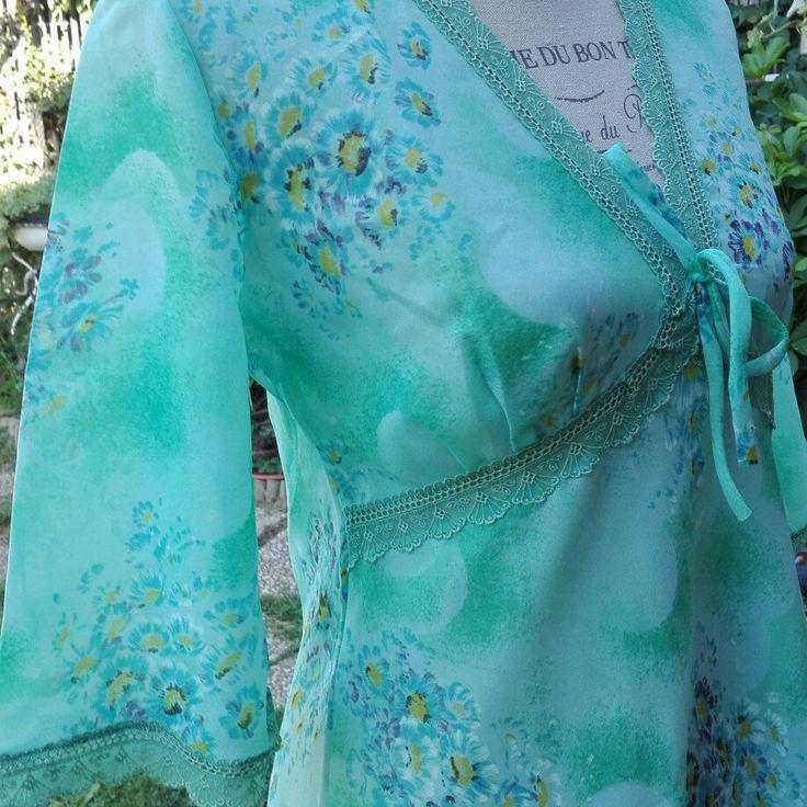 Nightgown 70s camicia da notte verde chic
