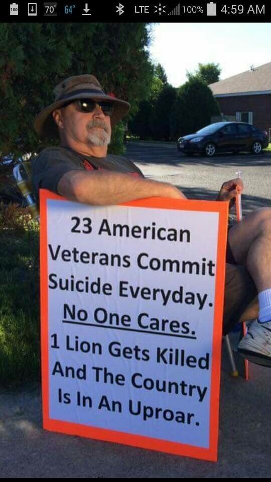 Of course the lion killing was wrong, HOWEVER, this is the truth. 22 veterans per DAY commit suicide.