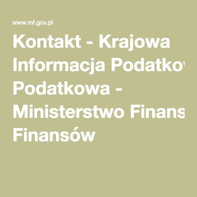 Kontakt - Krajowa Informacja Podatkowa - Ministerstwo Finansów
