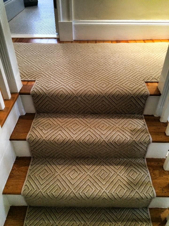 This stair runner was finished with khaki cotton binding.