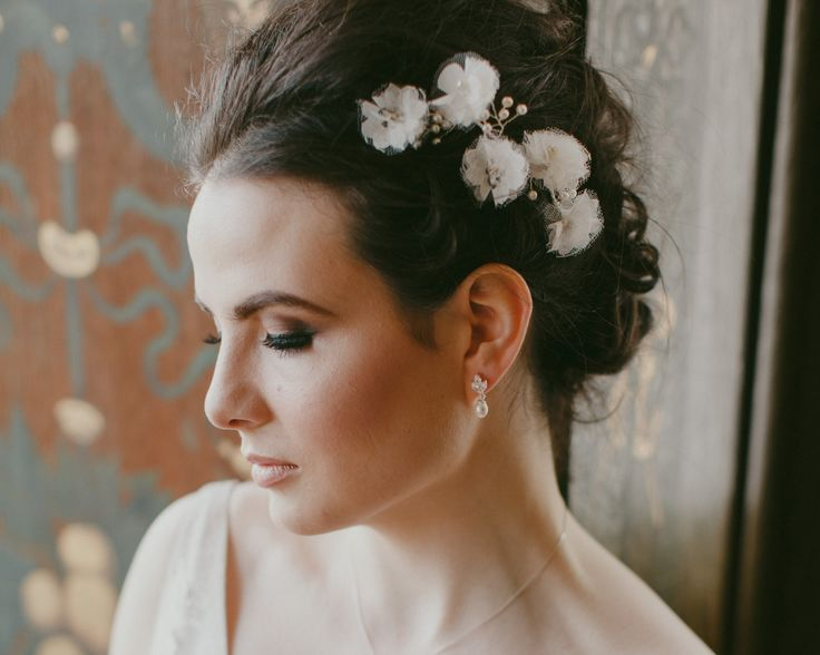 Handmade Lace, Tulle and Silk Petal Headpiece, Poppy | The Wedding Hair Accessory and Bridal Jewellery Experts. Jules Bridal Jewellery