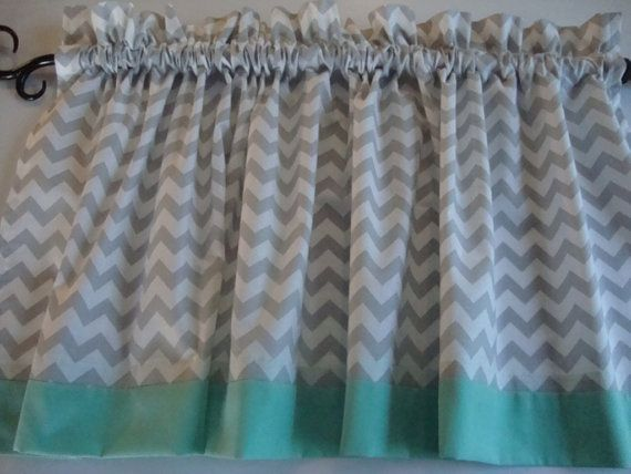 Gray and White Chevron Valance with Mint Border on the Bottom