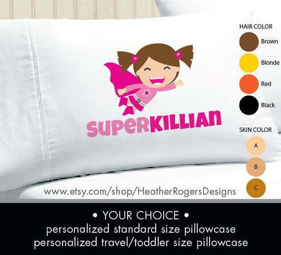 Superhero Pillowcase   Girls Personalized Pillow case