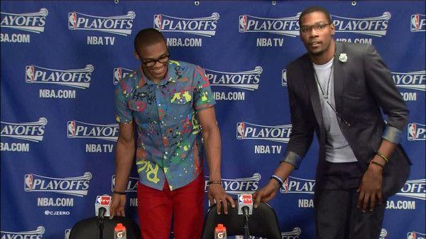 Even better Russ Westbrook's graffiti camo shirt is