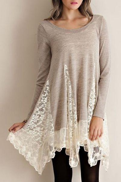Lace Spliced Asymmetric Hem Long Sleeves Dress GRAY: Long Sleeve Dresses…