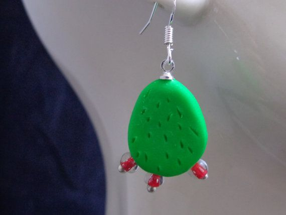 "Original earrings Mexican cactus ""NOPAL"" aretes mexicanos polymer clay"