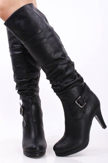 BLACK FAUX LEATHER SCRUNCHED SINGLE BUCKLE OVER THE KNEE HIGH HEEL BOOTS!!!