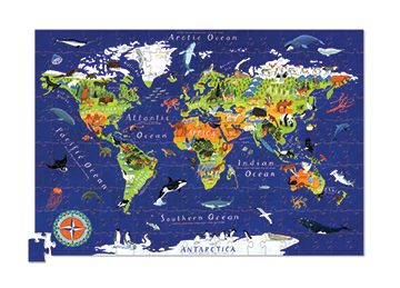 """200-piece world map puzzle. Fun & challenging, comes with a perfectly-sized wall poster. Packaged in a reusable storage canister. Ages 6+ Puzzle is 13""""x19"""", Poster is 16""""x24"""", Canister is 4""""W x 11.5""""H x 4""""D. Also available in smaller 100-piece (age 5+) version; poster and canister not included. #CrocodileCreek #CamelotKids #GeographyFun #MapPuzzle"""