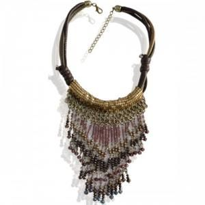 #moederdag Bruine korte halsketting met strass en strengetjes www.deoorbel.nl