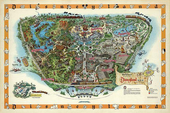Disneyland Map - Panoramic Birds Eye View Map of Disney land. Vintage…