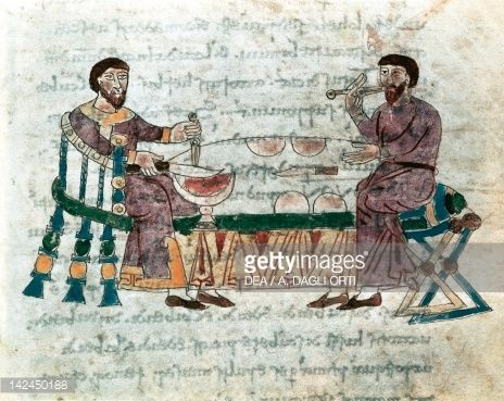 Stock Illustration : The table, miniature from De universo by Rabano Mauro, manuscript, Italy 11th Century.