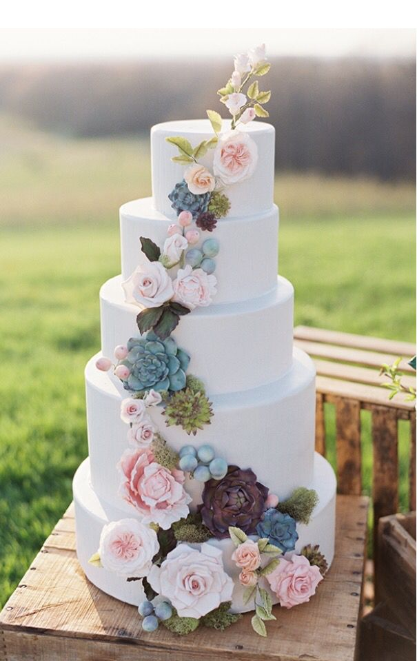 wedding cakes in lagunbeach ca%0A Tall white wedding cake with blush blooms and succulents  Elegant Modern  bohemian wedding inspiration  Boho Pins  Top    Pins of the Week  u      Succulents at