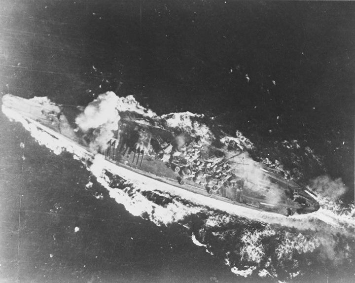 Battle of the Sibuyan Sea 24 October 1944 Japanese battleship Yamato is hit by a bomb near her forward 460mm gun turret during attacks by U.S. carrier planes as she transited the Sibuyan Sea. This hit did not produce serious damage.