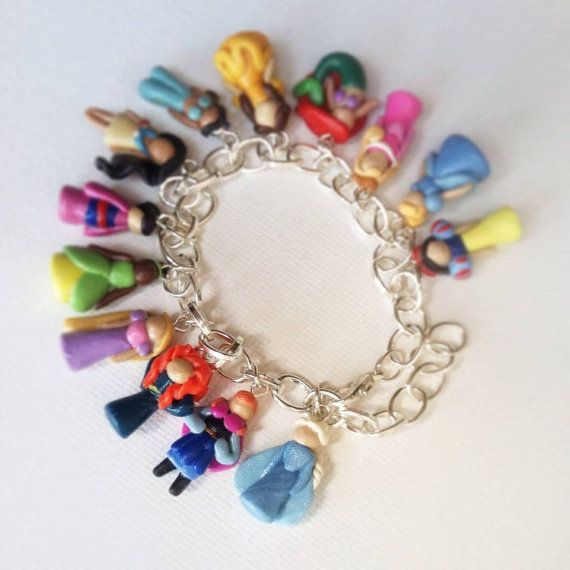 Disney Princess Inspired Polymer Clay Charm Bracelet (Now Available with Anna and Elsa!)