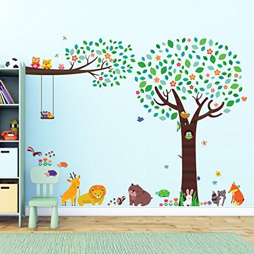 Decowall Large Tree With Animal Friends U0026 Branch With Owls Peel And Stick  Nursery Kids Wall Decals Stickers Part 83