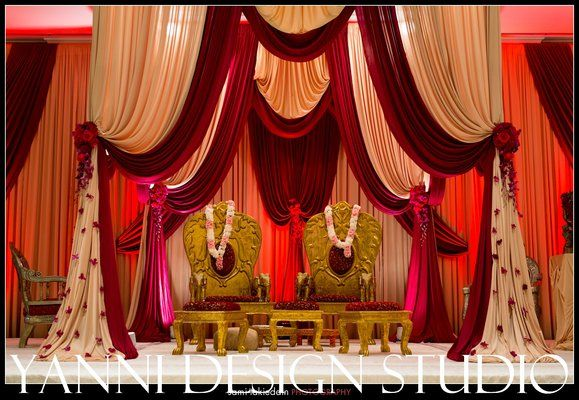 Chicago Indian wedding ceremony mandap, with traditional indian chairs.