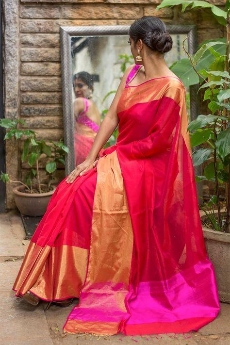 Pure chanderi cotton silk saree with zari border #chanderi #handloom #houseofblouse