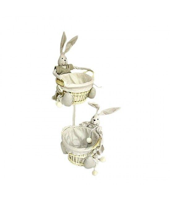 #Cos din material textil prevazut cu #iepuras #decorativ. Este o #decoratiune frumoasa pentru #masafestiva, puteti adauga oua vopsite, dulciuri, figurine simpatice cu tematica de #Paste.