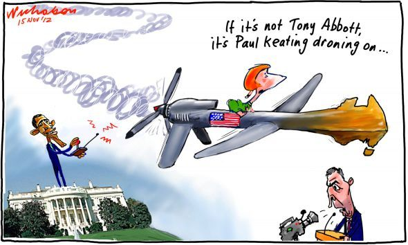 Paul Keating Keith Murdoch lecture attacks US influence drone cartoon 15 November 2012