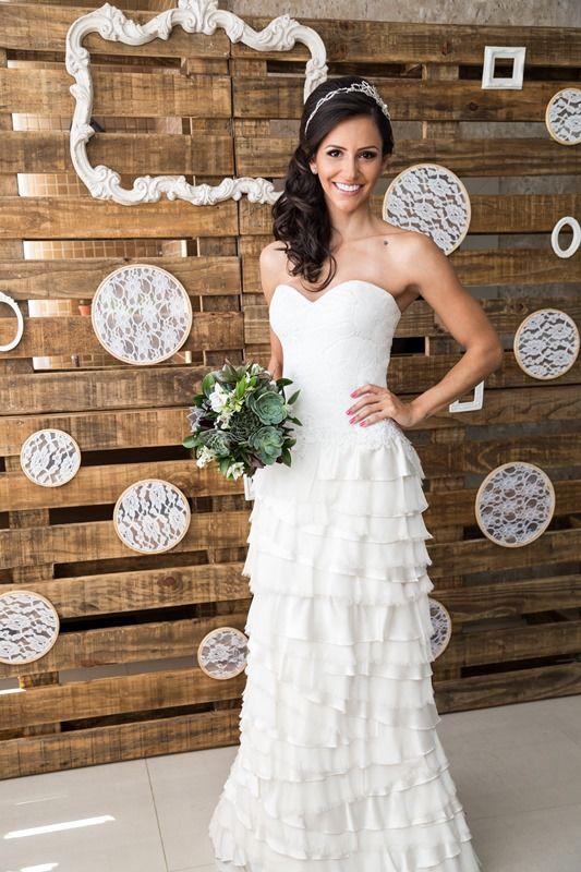 Vestido de noiva tomara que caia Martha Medeiros -Miniwedding Rústico