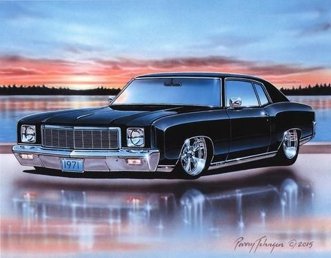 1971 Chevy Monte Carlo SS 454 Muscle Car Art Print Black 11x14 71