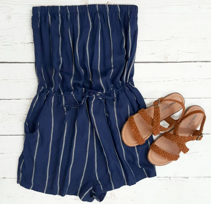 Endless Stripes Strapless Romper {Navy} - The Rage - 4