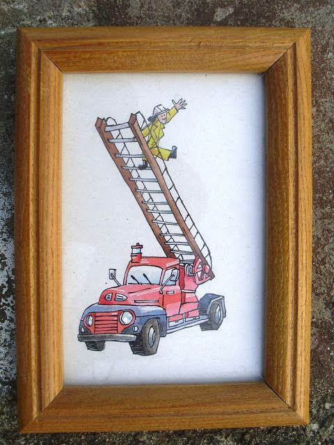 A little watercolour-painting of a firetruck that I made for one of my nephews.