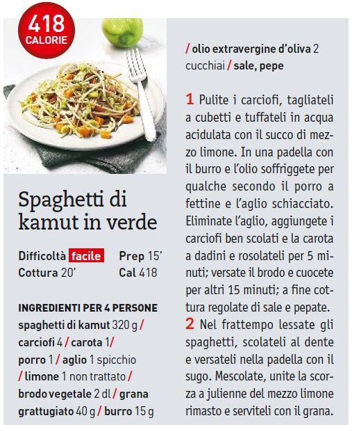 Spaghetti di kamut in verde
