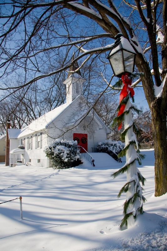Country Church at Christmas Time .......This is just like the church that my brother and I grew up in!