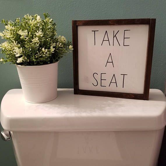 Take A Seat Bathroom Sign. #Farmhouse #Rustic #Cottage #Wooden #WallArt #HomeD… – Farmhouse Decor