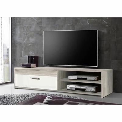 FINLANDEK Meuble TV KATSO contemporain décor chêne cendré et blanc brillant - L 120 cm
