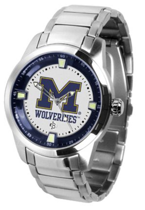 Michigan Wolverines Titan Steel Watch: This superb quality timepiece features a quartz accurate… #Sport #Football #Rugby #IceHockey