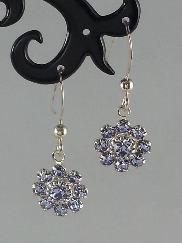 Light blue Swarovski crystal on sterling silver earrings