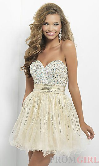 Short Strapless Dress by Blush 9665 at PromGirl.com