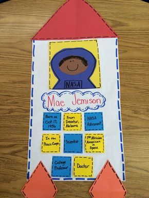 This is great format for a simple report about Mae Jemison, first black female astronaut. Perfect for Black History Month.
