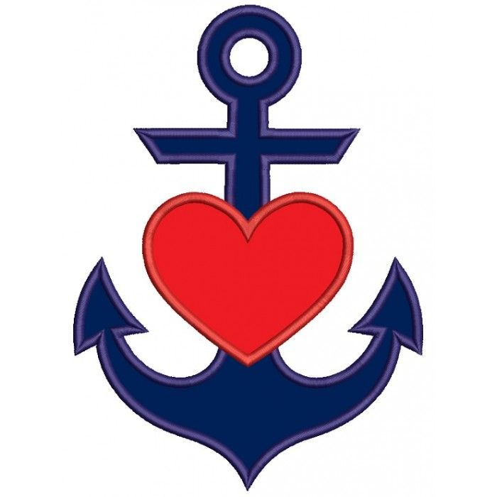 Anchor With Heart Marine Applique Machine Embroidery Design Digitized Pattern…