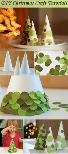 Paper Christmas trees- Stephen likes this- add contrasting color circles to make ornaments