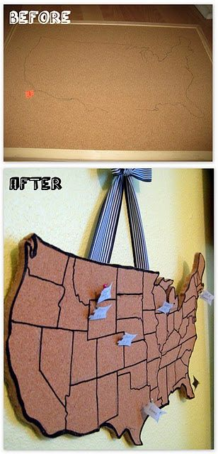 I can't get enough of this site! There are really cute ideas, like this cork board for road trips of states we've visited! #DIY