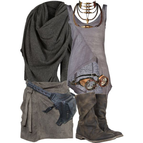 Steampunk Apocalypse, created by smylin on Polyvore -- I'd probably leave out the goggles for everyday streetwear.