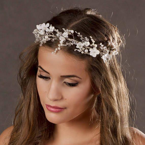 Silver Wedding Hair Accessory, Hair Vine -Bridal Crown - Beaded Halo, Bridal hair piece-Wedding hair vine pearls-Flower Bridal headpiece