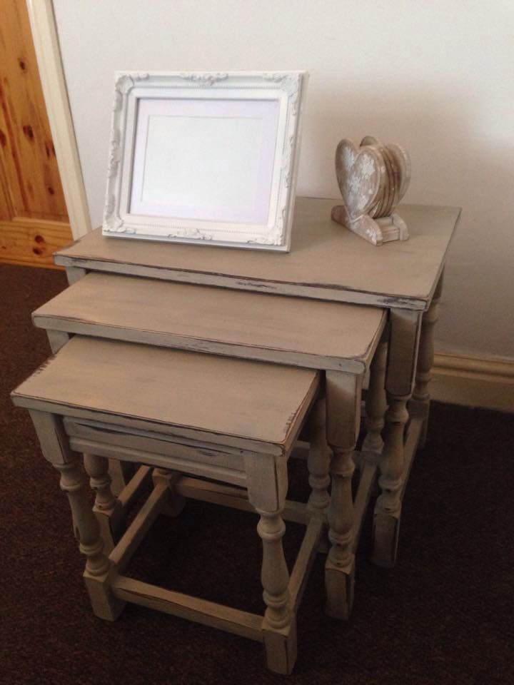 Nest of tables. Painted in Country Grey, Paris Grey and whites and creams.