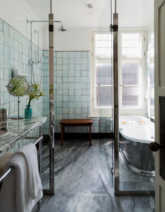 Gorgeous Bathroom. Beautiful combinations of handmade glazed tile and light-grey veined marble. Hotel by Andre Balazs , the Chiltern Firehouse, the bathroom design in 26-room hotel in London.