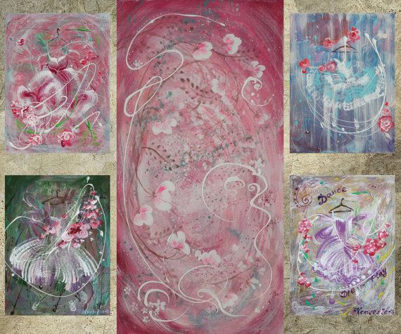 steeg van Shabby chic XXL schilderij roze bloemen door KsaveraART