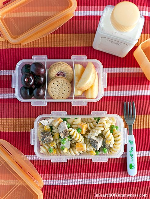 Perfect easy back to school lunch idea! Try making this chicken pasta salad from insearchofyummyness.com