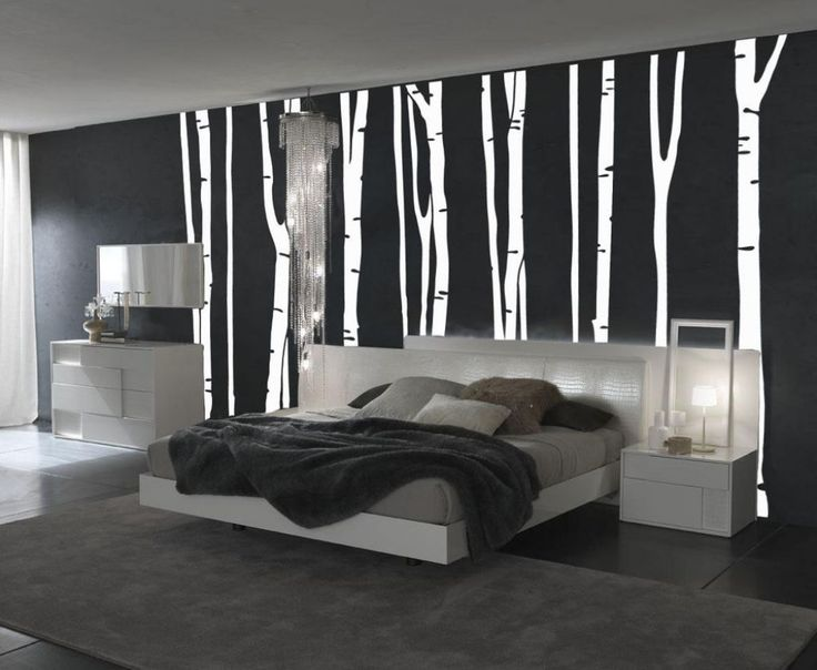 Interior , Decorative and Unique Arts for Black and White Wall Designs : Black And White Bedroom For Elegant Wall Painting Idea