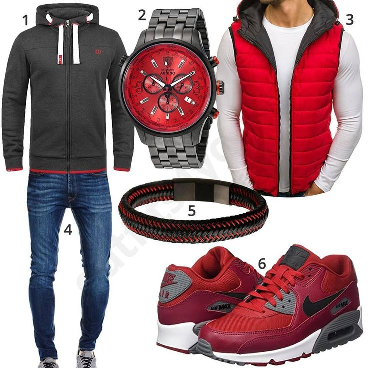 Casual men's style with gray solid hoodie, black and red Detomaso watch, red Bolf quilted waistcoat, black and red leather strap, Jack & Jones jeans and men's sneaker Nike Air Max.  1. Pullover► amzn.to/2HfjRGl 2. Uhr► amzn.to/2EsTG19 3. Vest► amzn.to/2EIXdb0 (-55%)  4. Trousers► amzn.to/2GdJTs7 5. Armband► amzn.to/2nZtDV6 (-89%)  6. Shoes► amzn.to/2Gdnsn4 #mensjeans2017