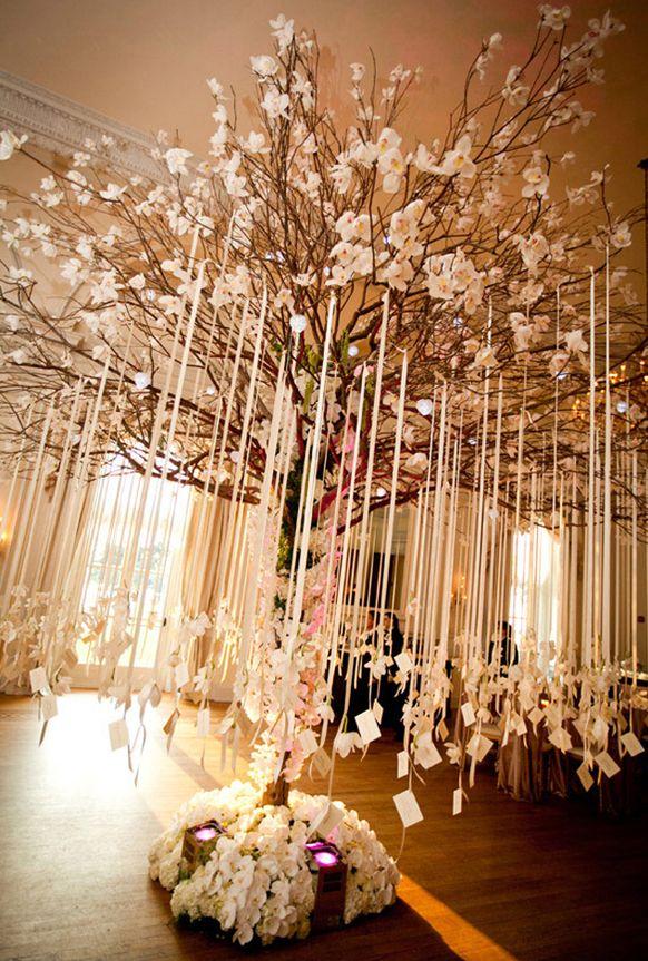 stylish-weddig-reception-escort-card-table-decoration-hanging-tree-.jpg (582×863)