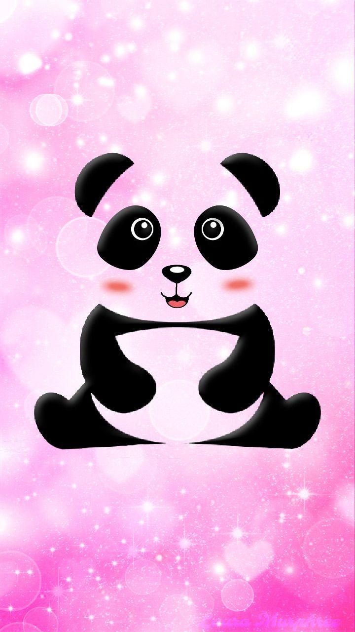 Hello Panda Baby Pink Glitter World Panda Art Wallpaper Panda Save The Pandas Animasi Desain
