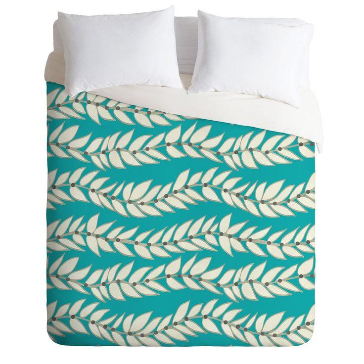 Jacqueline Maldonado Leaf Dot Stripe Teal Duvet Cover | DENY Designs Home Accessories