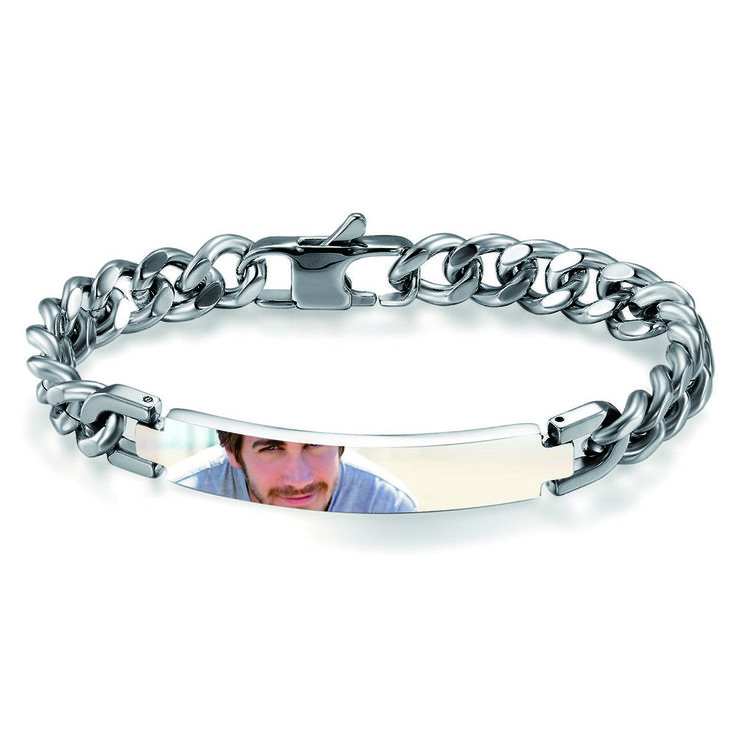 Mens Classic Personalized Engraved Photo Logo Custom DIY Polished Bracelet Chain #Unbranded #Chain